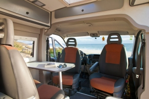 Living and dinning area of Atlantic Campers van