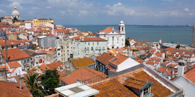 View from Sta Luzia viewpoint in Lisbon